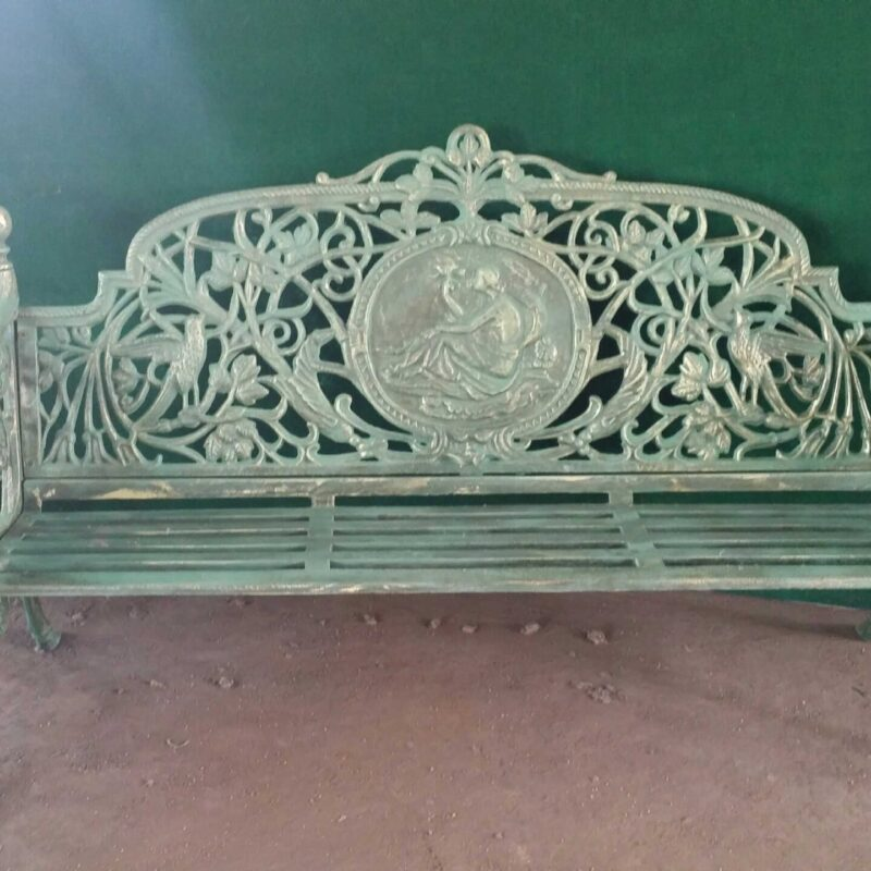Wrought Iron Bench Floral Design INB700 Metropolitan Galleries Inc.