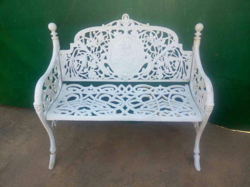 White Wrought Iron Bench Design Trade Wholesale Metropolitan Galleries Inc.