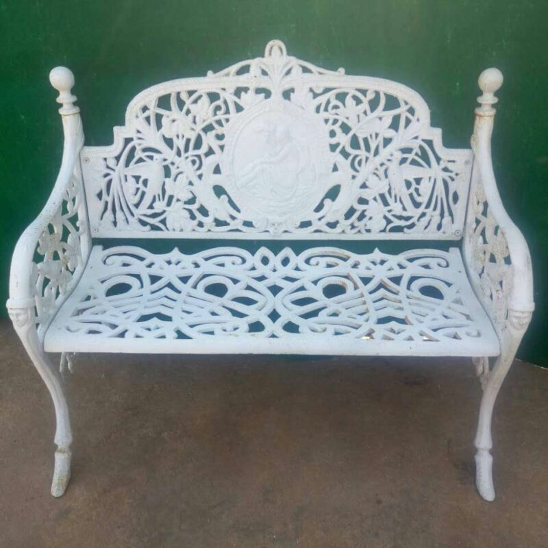 White Wrought Iron Bench Design Trade Wholesale Metropolitan Galleries Inc.