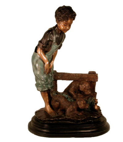 SRB029295 Bronze Boy and Two Puppies Sculpture Metropolitan Galleries Inc.