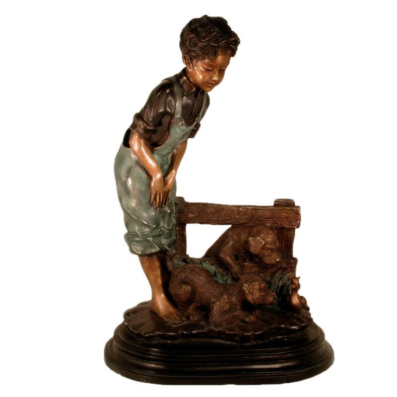 SRB029295 Bronze Boy and Two Puppies Sculpture Metropolitan Galleries Inc.