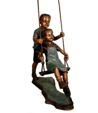 SRB029410 Bronze Kids on Swing Sculpture Metropolitan Galleries Inc.