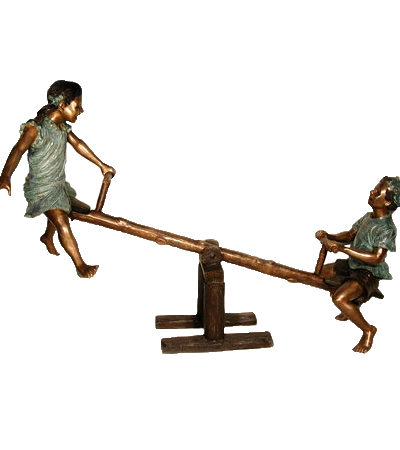 SRB050070 Bronze Children on Seesaw Sculpture Metropolitan Galleries Inc.