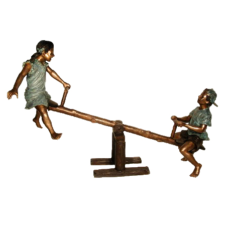 SRB050070 Bronze Children on Seesaw Sculpture Metropolitan Galleries Inc.