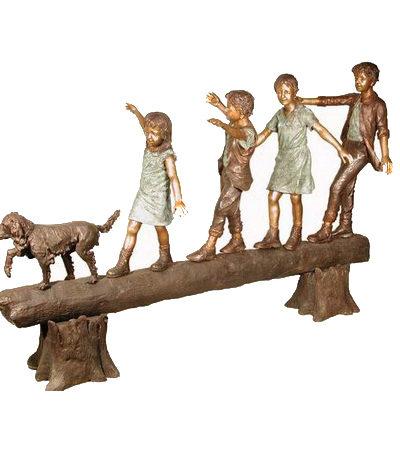 SRB050195 Bronze Four Children and Dog on Log Sculpture Metropolitan Galleries Inc.