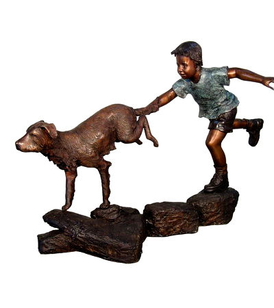 SRB050454 Bronze Boy Running with Dog Sculpture Metropolitan Galleries Inc.