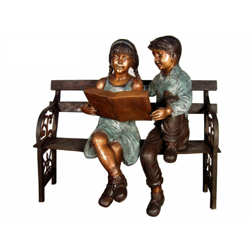 SRB050524 Bronze Children Reading Book on Bench Sculpture Metropolitan Galleries Inc.