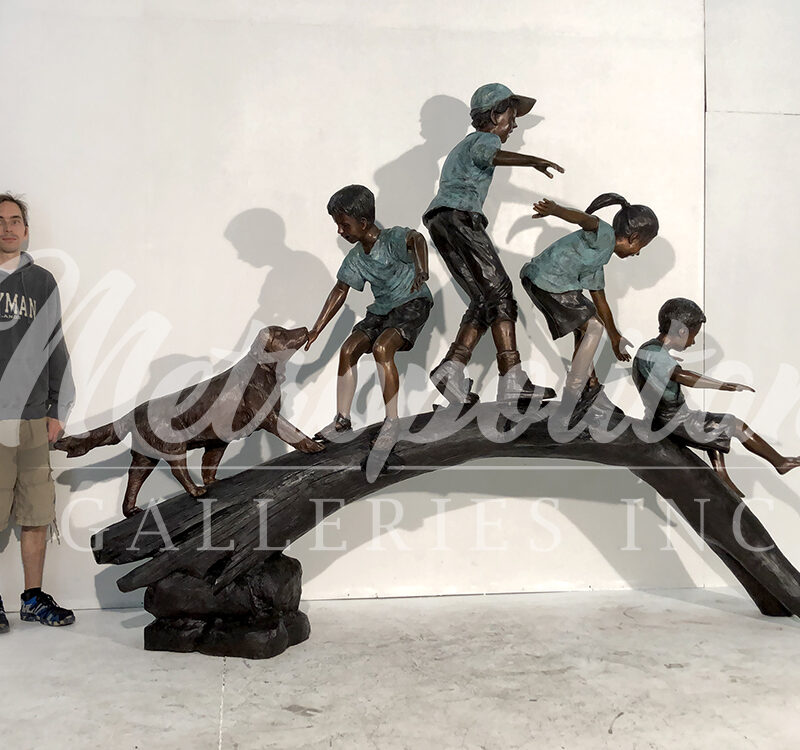 SRB052090 Bronze Four Children & Dog crossing Log Sculpture by Metropolitan Galleries Inc SCALE watermark