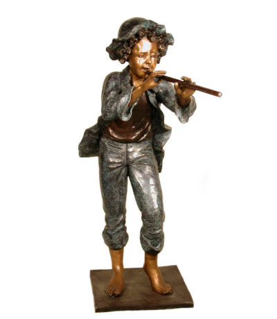 SRB052600 Bronze Girl Playing Flute Sculpture Metropolitan Galleries Inc.