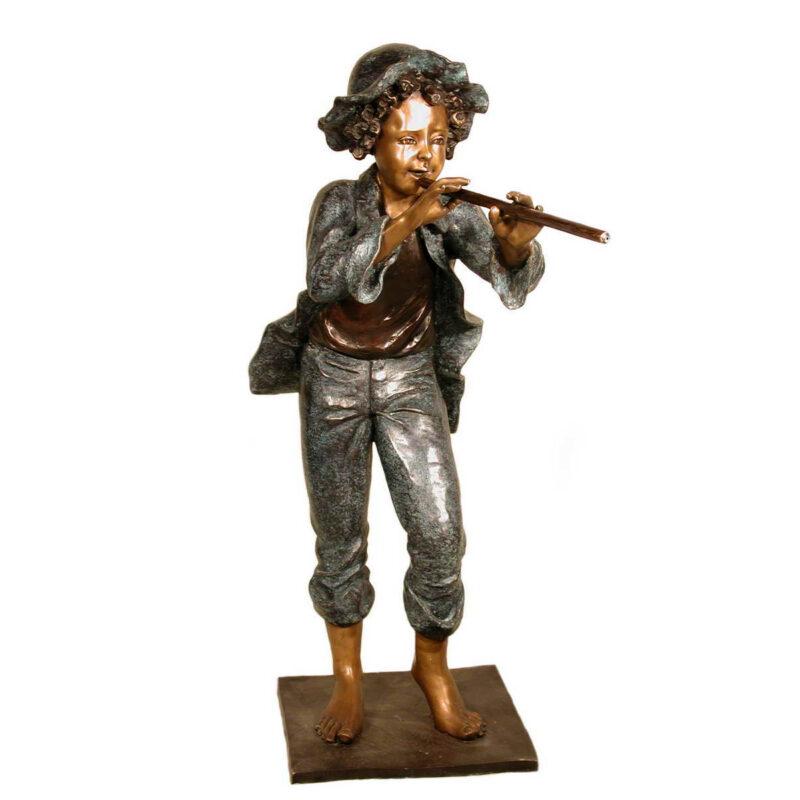 SRB052600 Bronze Girl Playing Flute Sculpture Metropolitan Galleries Inc.