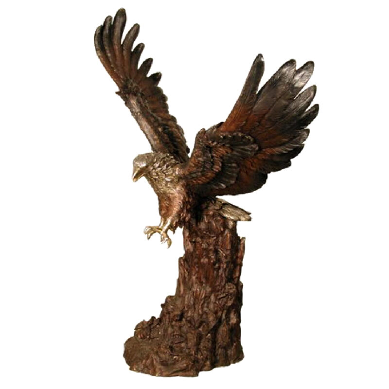 SRB055742 Bronze Eagle on Stump Sculpture Metropolitan Galleries Inc.