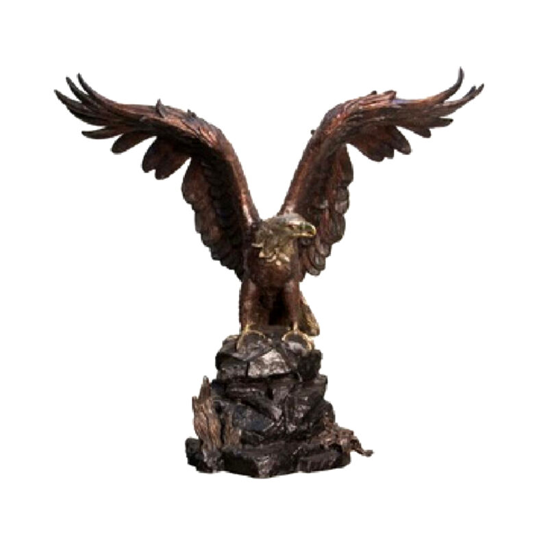 SRB055884 Bronze Eagle on Rock Sculpture Metropolitan Galleries Inc.