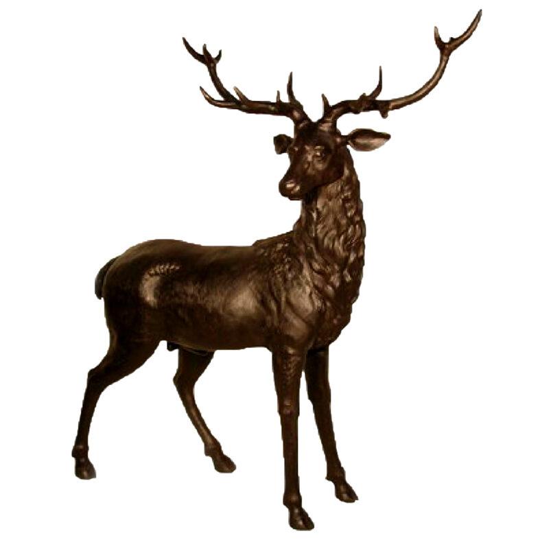 SRB056013M Bronze Male Deer Sculpture Metropolitan Galleries Inc.