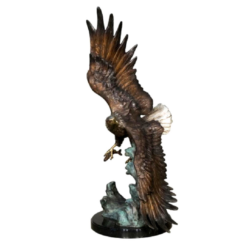 SRB056755 Bronze Eagle Catching Fish Sculpture Metropolitan Galleries Inc.
