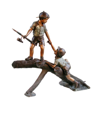 SRB057205 Bronze Children Fishing on Log Sculpture Metropolitan Galleries Inc.