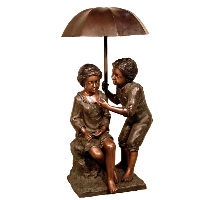 SRB057230 Bronze Children under Umbrella Sculpture Metropolitan Galleries Inc.