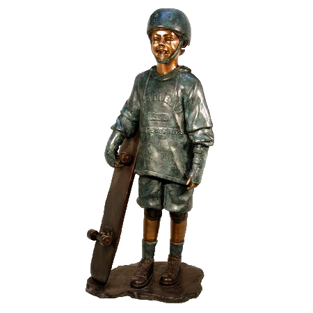 SRB074010 Bronze Boy holding Skateboard Sculpture Metropolitan Galleries Inc.