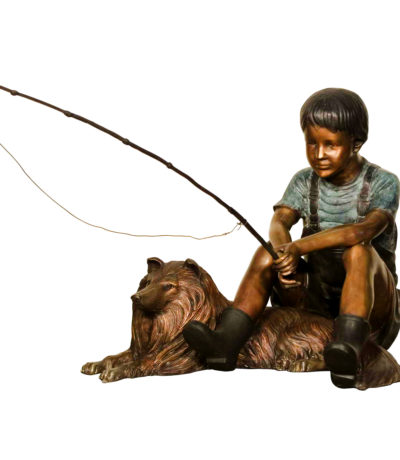 SRB081165 Bronze Boy Fishing with Collie Dog Sculpture Metropolitan Galleries Inc.