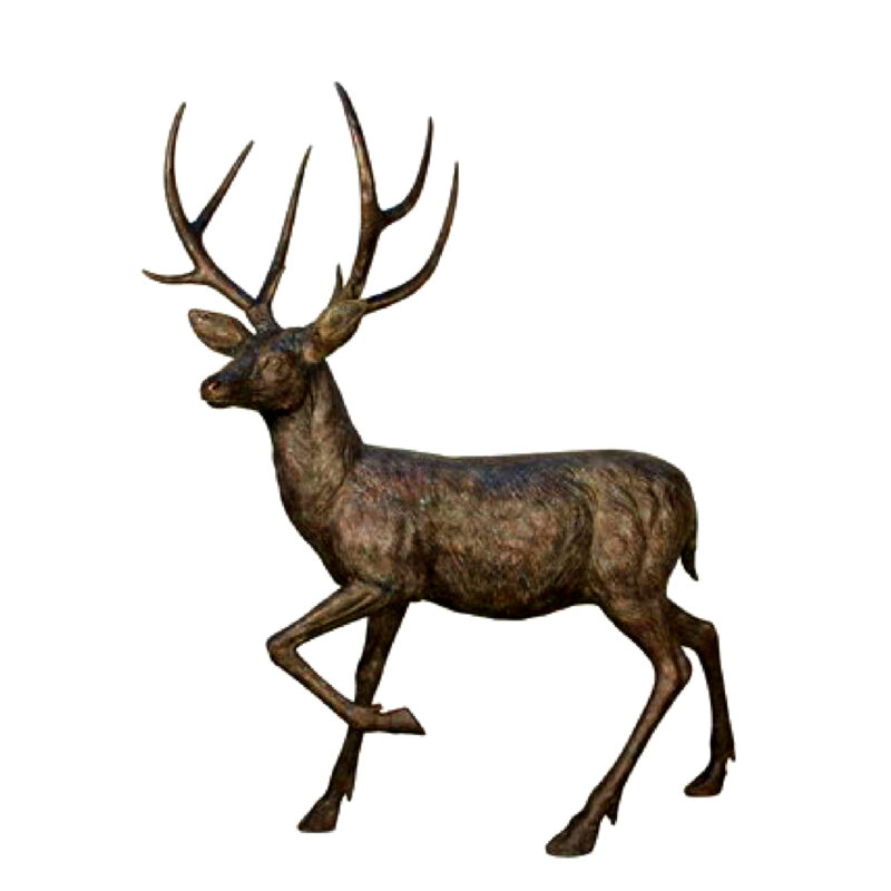 SRB084071 Bronze Male Deer Sculpture Metropolitan Galleries Inc.