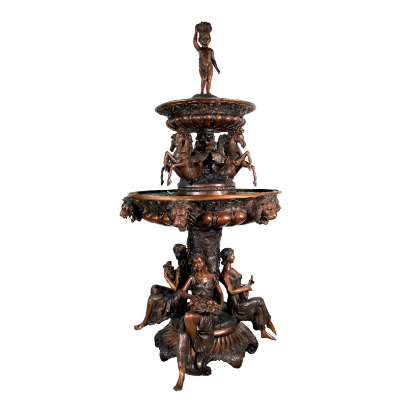 SRB704857 Bronze Lady Musicians & Horses Tier Fountain by Metropolitan Galleries in French Brown