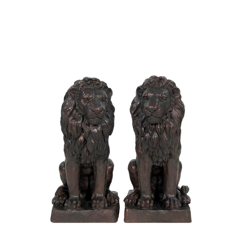 SRB705152 Bronze Small SItting Lions on Base Sculpture Pair by Metropolitan Galleries Inc