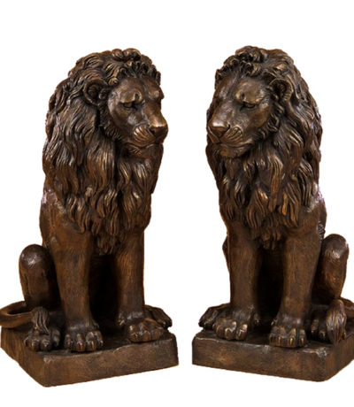 SRB705152 Bronze Sitting Lions Sculpture Pair Metropolitan Galleries Inc.