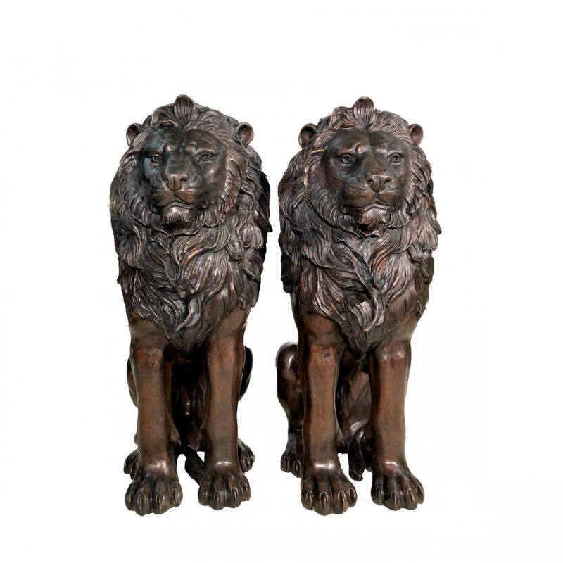 SRB706667 Bronze Sitting Lions Sculpture Pair by Metropolitan Galleries Inc