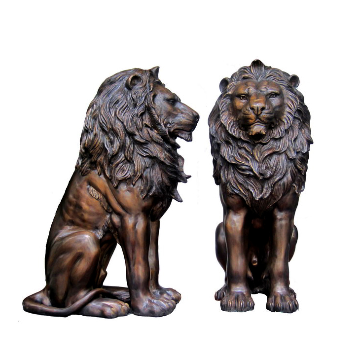 SRB706667 Bronze Sitting Lion Sculpture Set Metropolitan Galleries Inc.