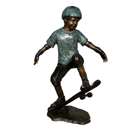 SRB74005 Bronze Boy on Skateboard Sculpture Metropolitan Galleries Inc.