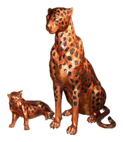 SRB10013 Bronze Cheetah & Cub Sculpture Set Metropolitan Galleries Inc.