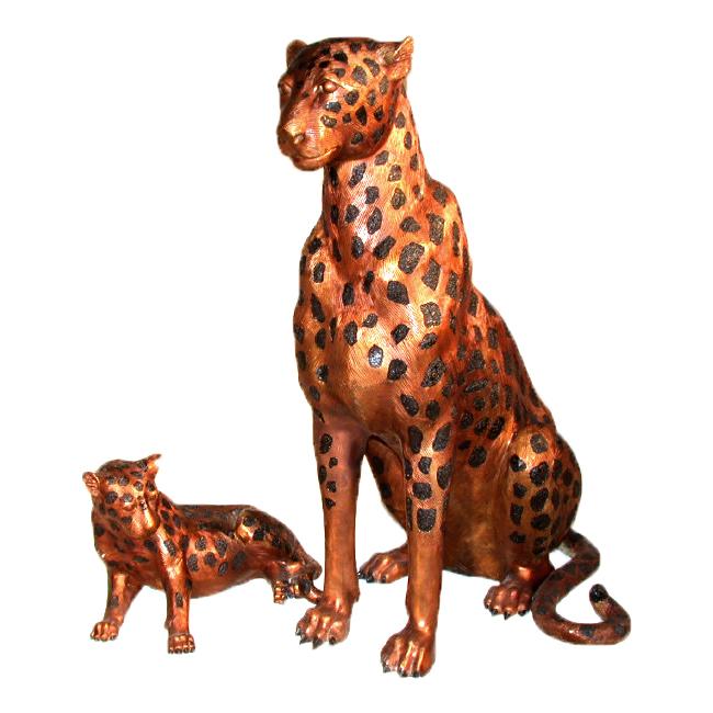 SRB10013 Bronze Cheetah & Cub Sculpture Set Metropolitan Galleries Inc.
