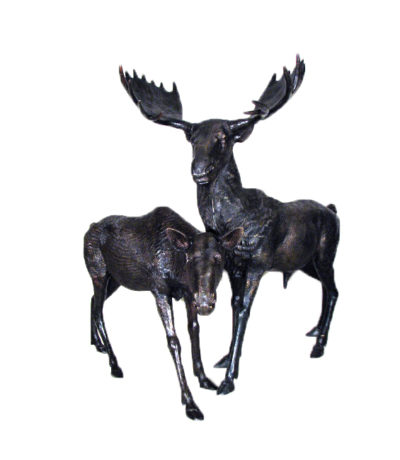 SRB10053 Bronze Moose Sculpture Set Metropolitan Galleries Inc.