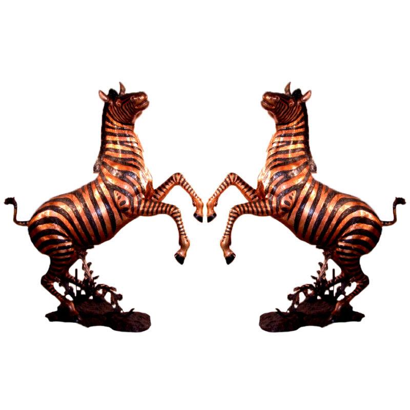 SRB10059 Bronze Rearing Zebra Sculpture Pair Metropolitan Galleries Inc.