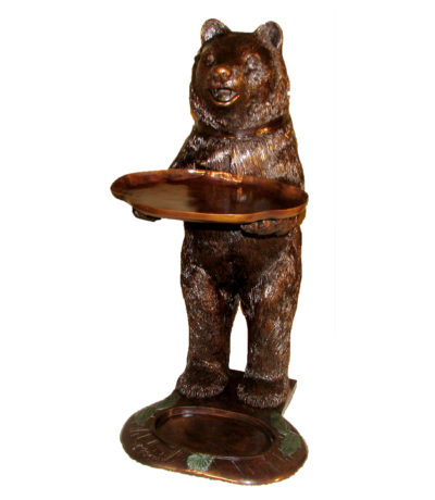 SRB49349 Bronze Bear holding Tray Sculpture Metropolitan Galleries Inc.
