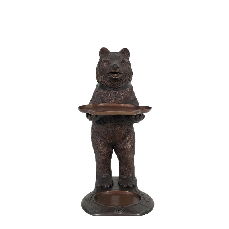 SRB49349 Bronze Bear holding Tray Sculpture by Metropolitan Galleries Inc