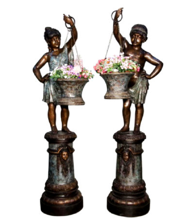 SRB018116-19 Bronze Boy & Girl holding Urn Sculpture Set Metropolitan Galleries Inc.