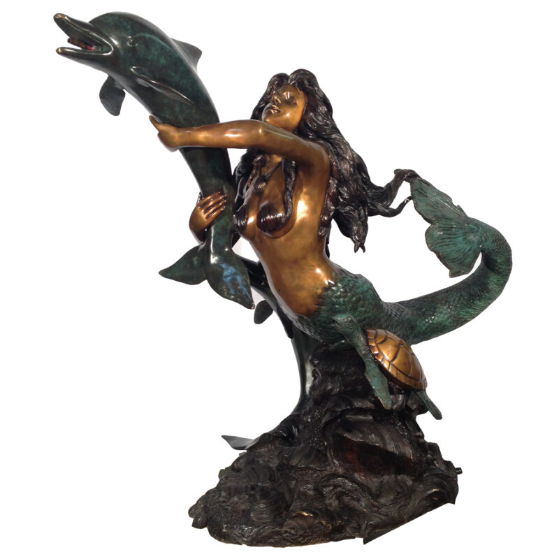 SRB028660 Bronze Mermaid on Dolphin Fountain Sculpture Metropolitan Galleries Inc.