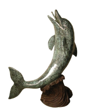 SRB028725 Bronze Dolphin on Wave Sculpture Metropolitan Galleries Inc.