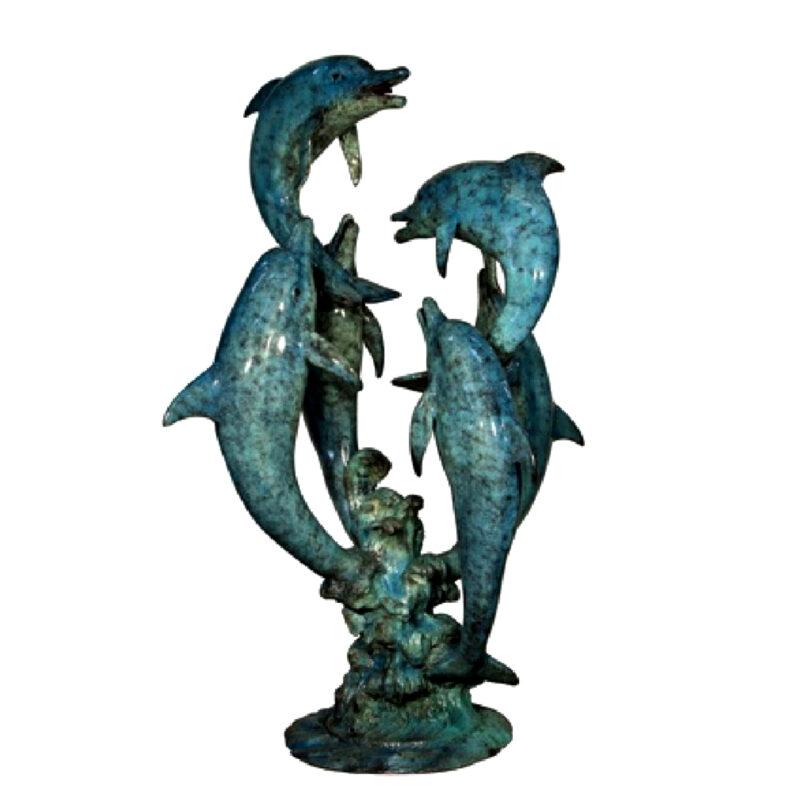 SRB056662 Bronze Six Dolphins Fountain Sculpture Metropolitan Galleries Inc.