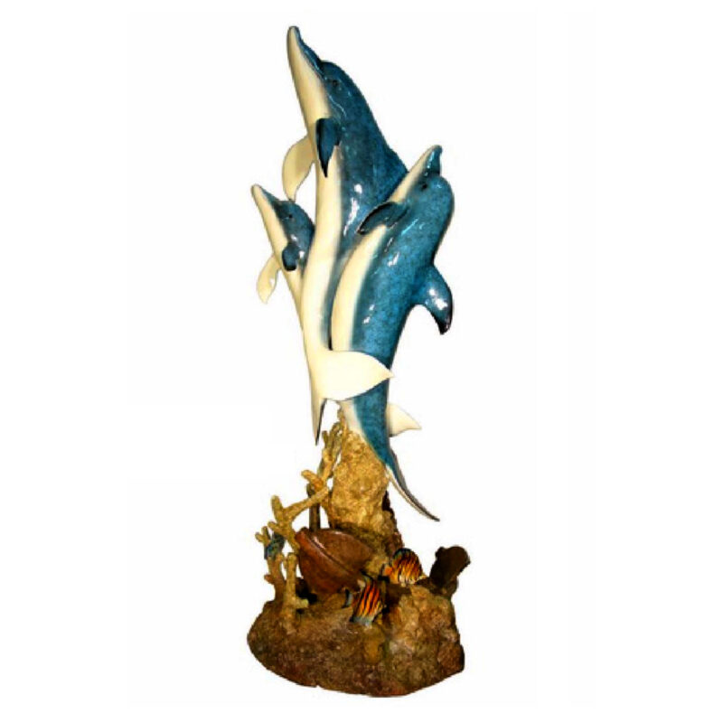 SRB074160-SP Bronze Three Dolphins Fountain Color Metropolitan Galleries Inc.