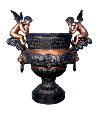 SRB074360 Bronze Cupids & Lion Face Urn Metropolitan Galleries Inc.