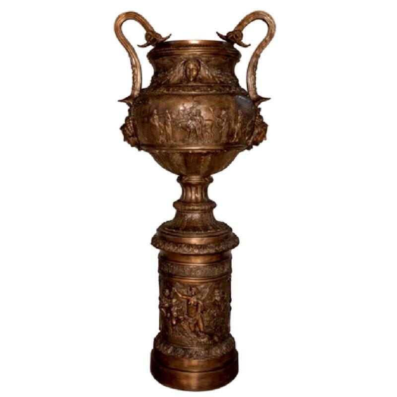 SRB087107 Bronze Egyptian Urn on Pedestal Metropolitan Galleries Inc.