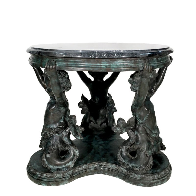 SRB30433 Bronze Merboy Table Base Marble Surface Metropolitan Galleries Inc.