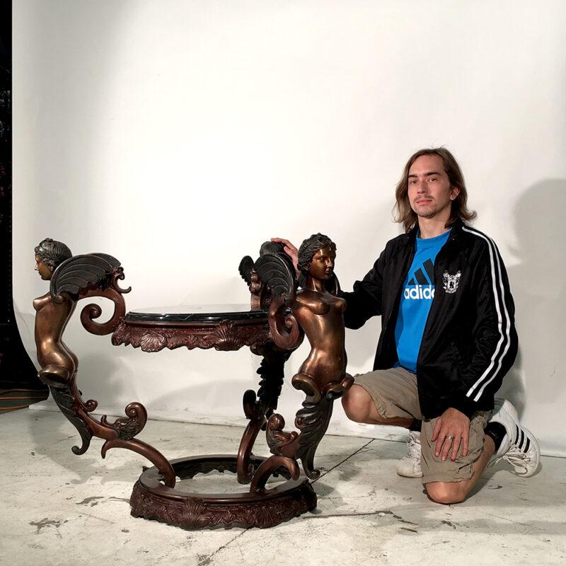 SRB30439 Bronze Angel Table Base Sculpture Metropolitan Galleries Inc.