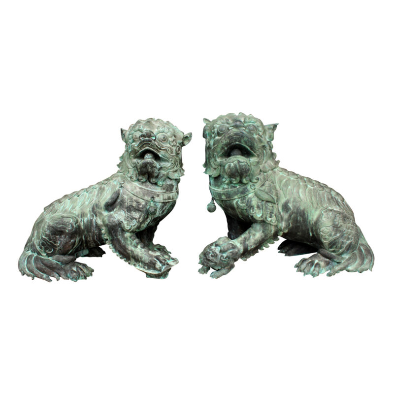 SRB86026-27 Bronze Chinese Foo Dog Sculpture Pair Verdigris Metropolitan Galleries Inc.