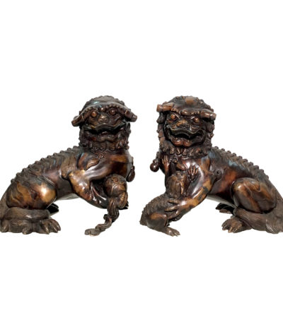 SRB86034-35 Bronze Chinese Foo Dog Sculpture Set Metropolitan Galleries Inc.