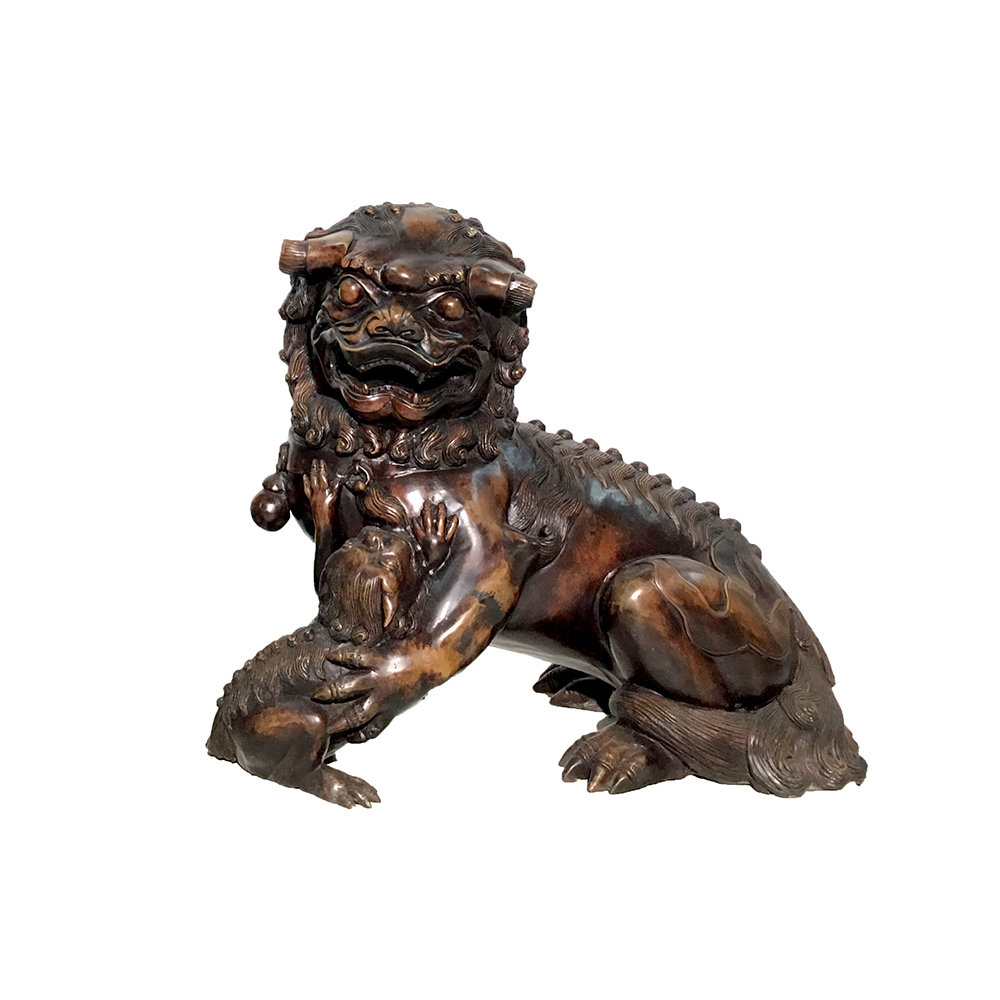 Bronze Chinese Foo Dog With Baby Sculpture