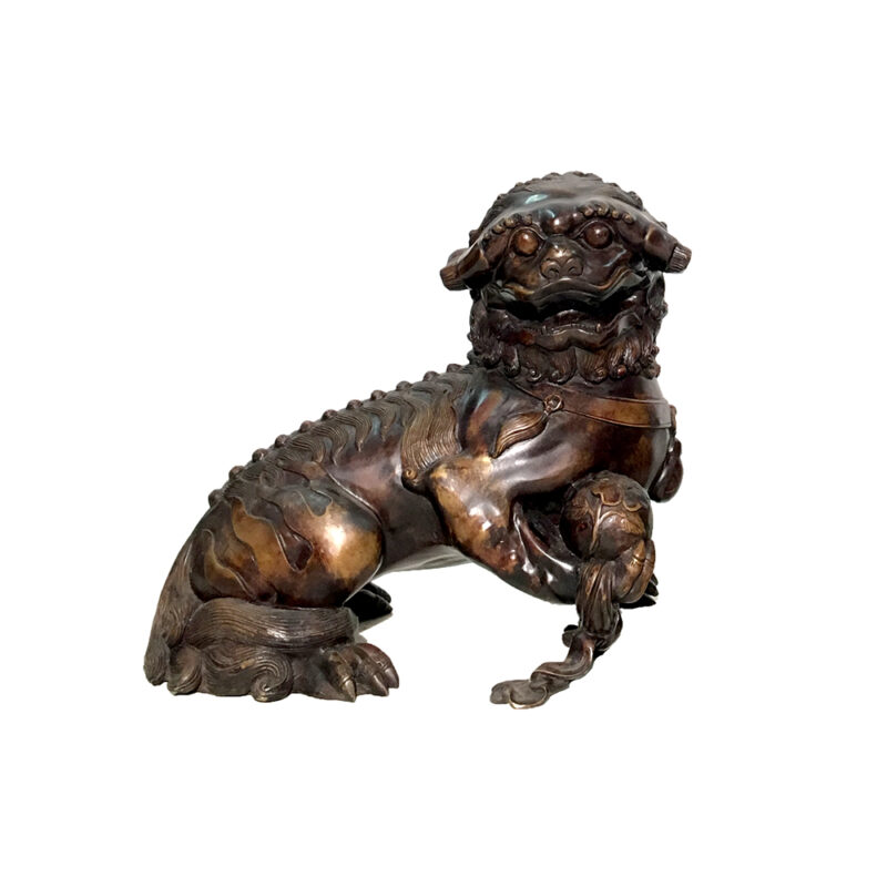 SRB86035 Bronze Chinese Foo Dog with Ball Sculpture Metropolitan Galleries Inc.