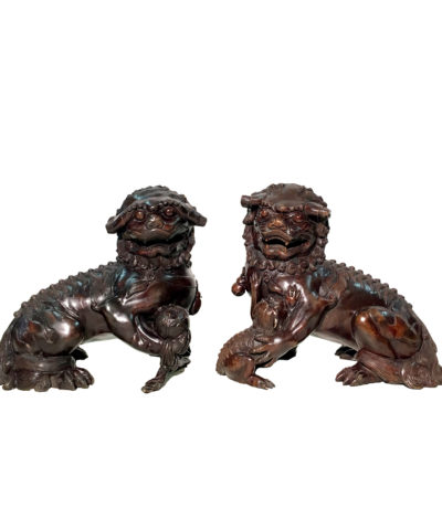SRB86036-37 Bronze Chinese Foo Lions Sculpture Set Metropolitan Galleries Inc.