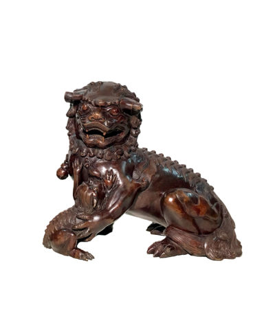 SRB86036 Bronze Chinese Foo Dog with Baby Sculpture Metropolitan Galleries Inc.